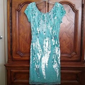 Caché  Seafoam beaded & sequined cocktail dress, 4